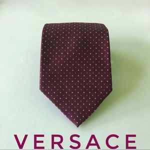 Gianni Versace Polka Dot Square Textured Silk Tie